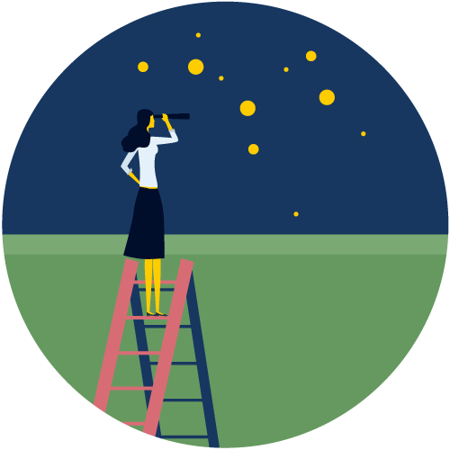 Illustration of a woman on a ladder, looking at the stars with a telescope.