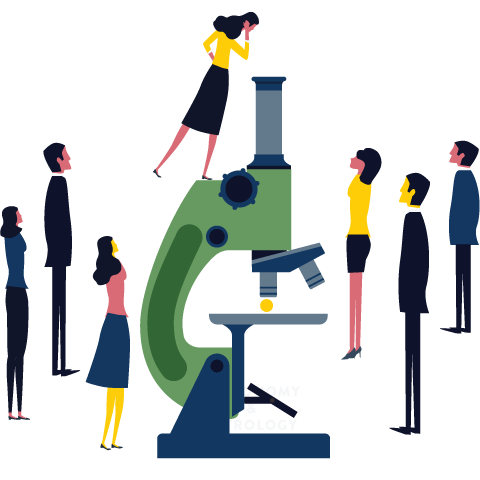 Illustration of people around a gigantic microscope.
